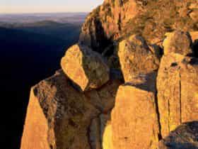 Tall granite cliffs at dusk