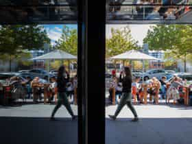 Mirrored image of a cafe's outdoor seating