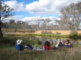 Friends relaxing in the nature park