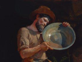 Oil painting of an Australian prospector