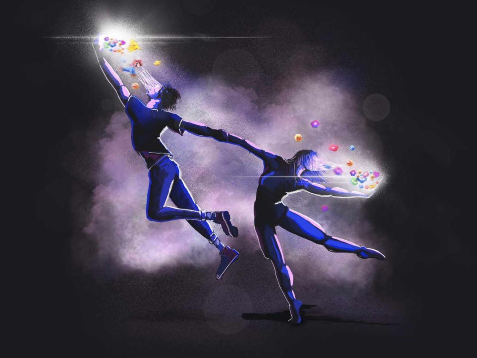 Illustration of two young dancers