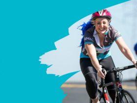 woman on bike cycling