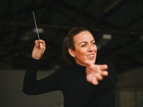 Woman conducting