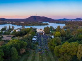 Aerial view of the CSO Summer Prom with sunset