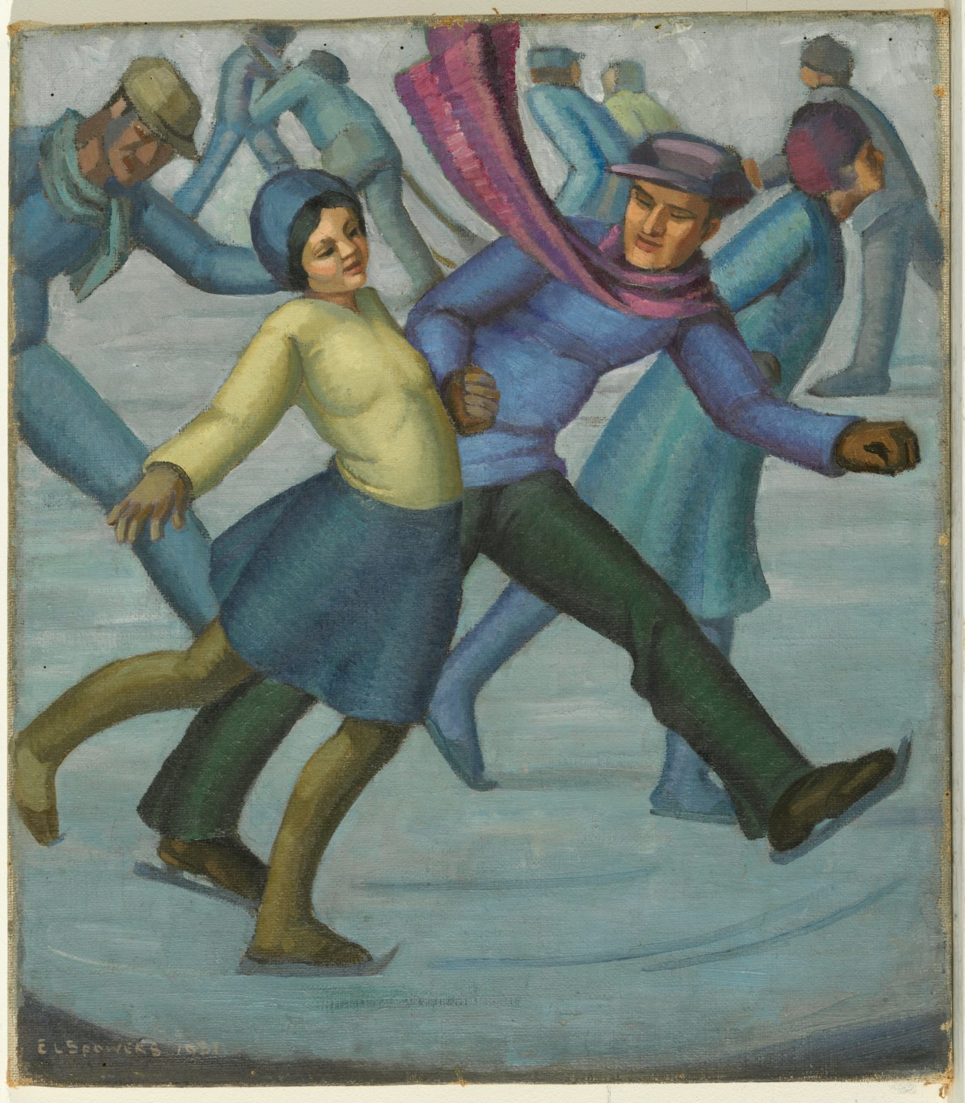 Painted image of ice skaters