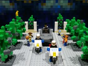 Lego display of police motor cycles escorting the Governor Generals vehicle