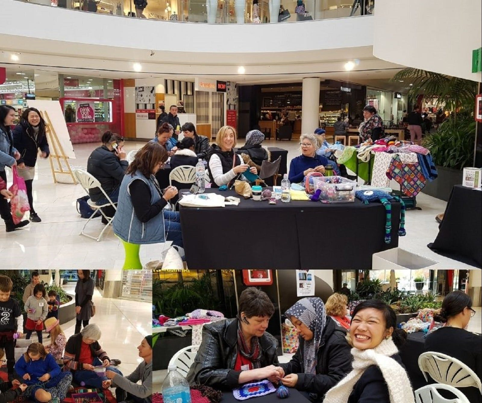 A group knitting in a shopping centre