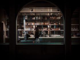Night street view of Corella Bar