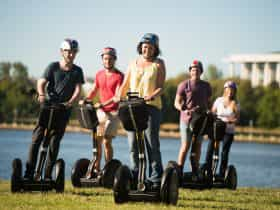 Group on a segway tour by the lake