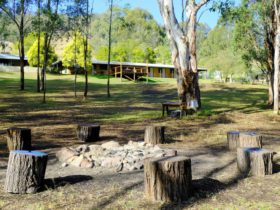 Lodge and fire pit