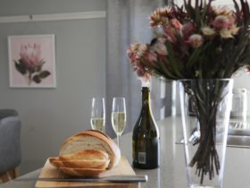 Bread and champagne in the kitchen