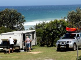 Campers with their camper trailer at Gillards campground, Mimosa Rocks National Park. Photo: John