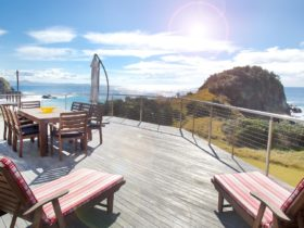 View of Headland and Little Beach from the spacious deck.