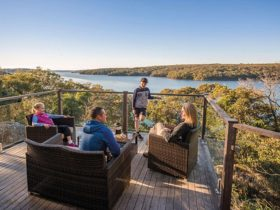 A family enjoying the view from the balcony of Hilltop Cottage in Royal National Park. Photo: John