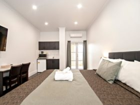 King Bed, kitchenette, walk in shower, lounge in room.