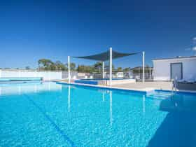 Heated outdoor swimming pool