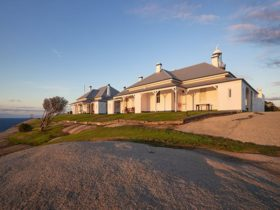 View of Montague Island Assistant Lighthouse Keepers Cottage at sunrise. Photo: Daniel Tran/OEH