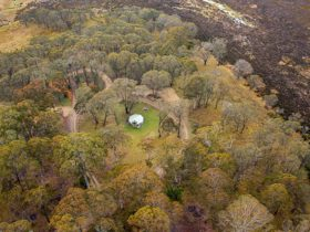 Aerial view of Polblue campground and picnic area in Barrington Tops National Park. Photo: John
