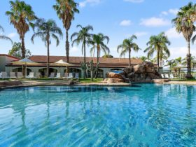 Lagoon resort style outdoor swimming pool with palm trees, umbrellas and deck chairs