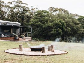 Rustic fire pit surrounded by logs for seating, just moments walk from your tiny house