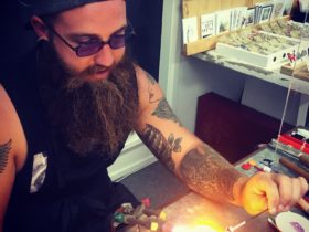 Student learning the Art of Lampworking
