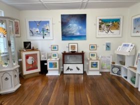 Display of art in the main gallery room