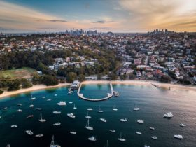 Aerial overlooking Balmoral Baths, Sydney