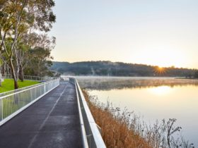 Boardwalk on left and Lake Inverell on right