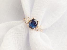 Australian sapphire engagement ring in rose gold