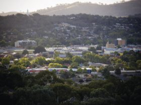 View across Albury towards Monument Hill