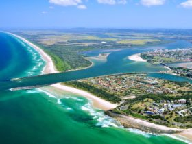 Aerial image of Ballina showing beaches and river