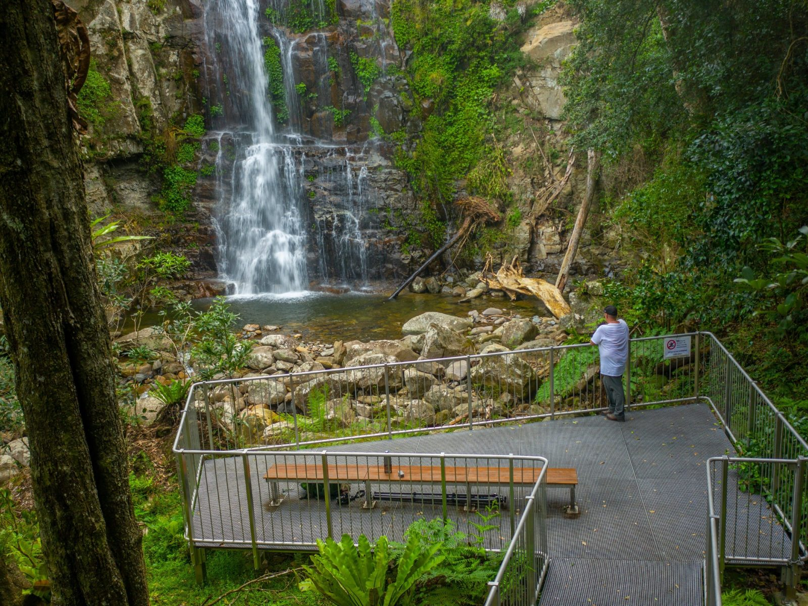 A man stands at a viewing platform along The Falls walk in Buderoo National Park.