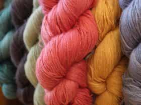 Hand dyed suri alpaca stellina laceweight.