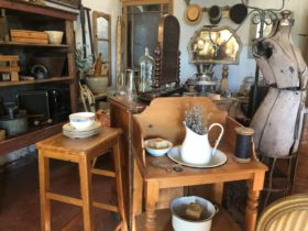 Various items including a wash stand, stool and dressmaker's dummy.