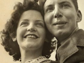 Sepia toned photograph of a man and woman