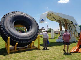 Large mining truck tyre and underground chock