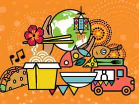 Graphic of world and food
