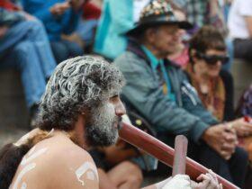 An Australian Aboriginal man wearing facepaint plays the didgeridoo for a crowd.