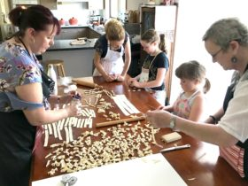 Adult and child pasta making class - enjoying bonding experience