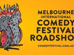 Illustration of two cockatoos and the text - Melbourne International Comedy Festival Roadshow