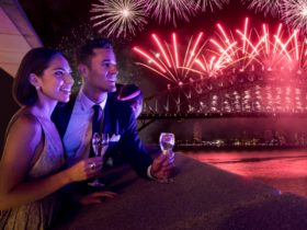 A couple watch the fireworks over Sydney Harbour on New Year's Eve