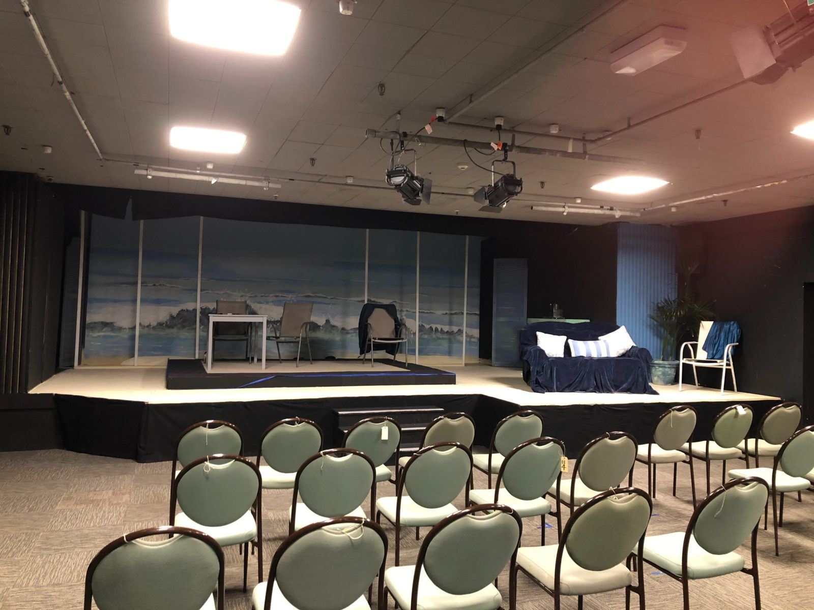 Inside Basement Theatre with set for current production in place.