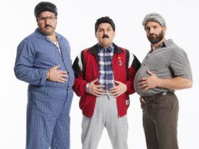 Three men dressed old, posing