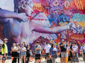 Crowd watches live street art
