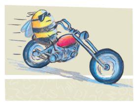 Cartoon of Bee on Motor Bike