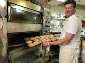 pies coming out of oven