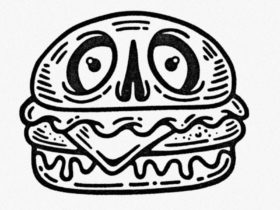 Outline of burger with a face. Tattoo style black and white image