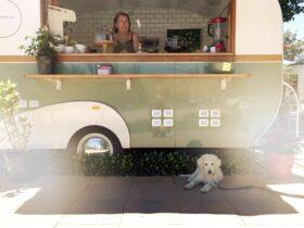 Our cute Spitfire Vintage Caravan serving you your favourite coffee. Local farm fresh produce