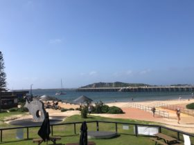 Picture of the lawn, beach and the Jetty at Coffs Harbour
