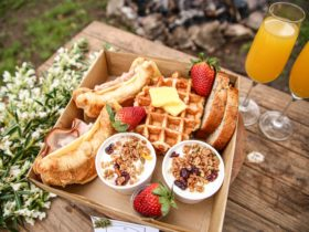 waffles, yoghurt, croissants, banana bread and fruits all in a box ready to go